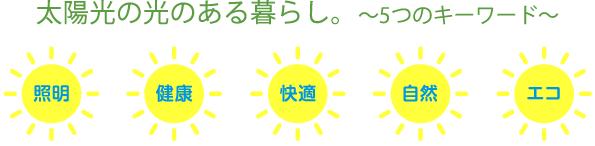 「太陽の光ある暮らし。~5つのキーワード~」照明・健康・快適・自然・エコ